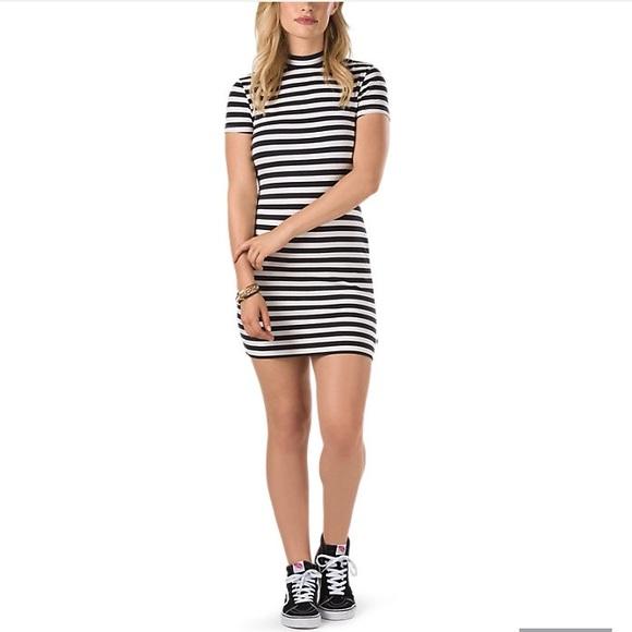 66ee8b93ccfe Vans Dresses | Stripe Bodycon Dress Abbot Black Tan Nwt S | Poshmark